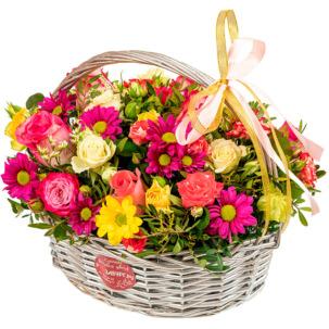 """Корзина с цветами """"Акварель"""""""